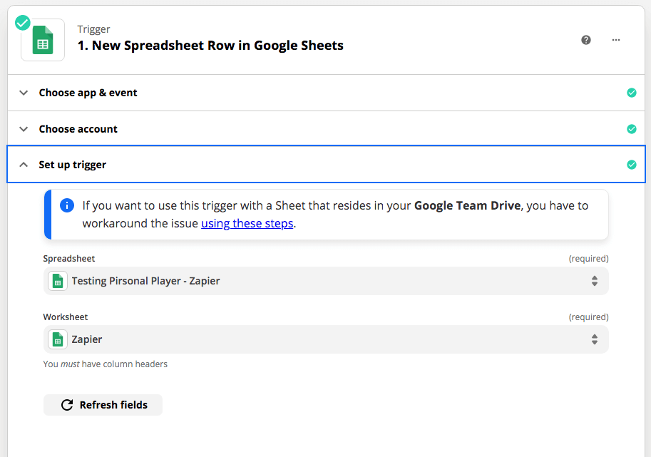 Trigger Example With Google Sheets